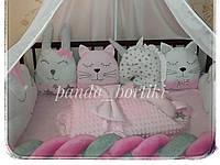 Бортики защита в детскую кроватку на три стороны