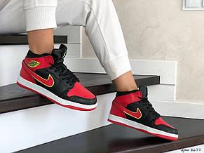 Высокие зимние подростковые кроссовки Nike Air Jordan 1 Retro,черные с красным, фото 2