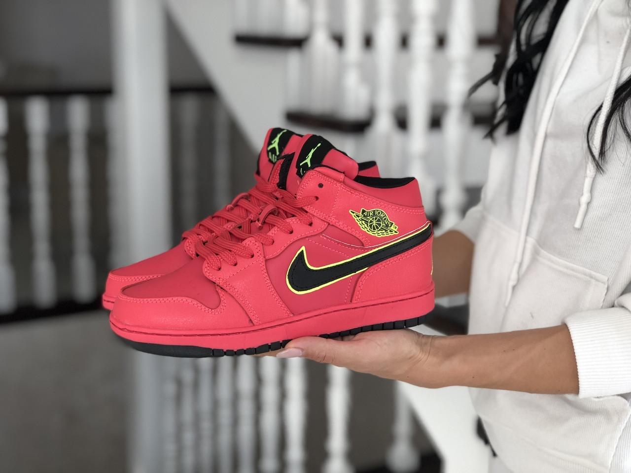 Высокие зимние подростковые кроссовки Nike Air Jordan 1 Retro,красные