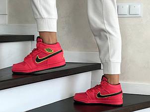 Высокие зимние подростковые кроссовки Nike Air Jordan 1 Retro,красные, фото 2