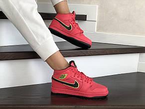 Высокие зимние подростковые кроссовки Nike Air Jordan 1 Retro,красные, фото 3