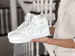 Высокие зимние подростковые кроссовки Nike Air Jordan 1 Retro,белые, фото 2