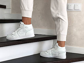 Высокие зимние подростковые кроссовки Nike Air Jordan 1 Retro,белые, фото 3