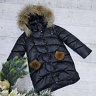 Зимняя куртка 2032 цвет только черный на 100% холлофайбере размеры от 122 см до 146 см рост, фото 1