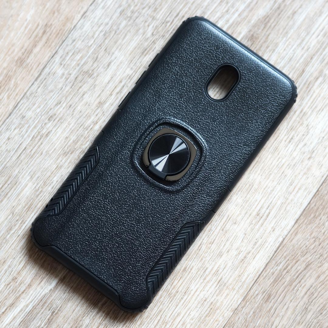 Противоударный чехол с кольцом держателем для Xiaomi Redmi 8A (черный)