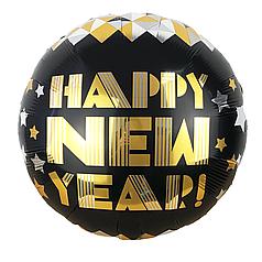 """Фол шар 18"""" Круг Новый Год / Happy New Year золотые и серебряные ромбы на черном (Китай)"""