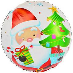 """Фол шар 18"""" Круг Новый год Дед мороз с подарком и елкой Белый (Китай)"""