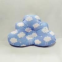 Ортопедическая подушка для младенца masterwork cloud 29*41см. голубая с белым
