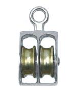 """Блок такелажный двойной 1/2"""" для троса 5 мм никелированный, с вертлюгом"""