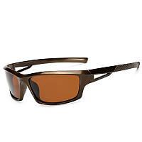 Поляризационные антибликовые солнцезащитные очки для рыбалки, охоты и спорта De Sol Masculino VE 1008 Brown.