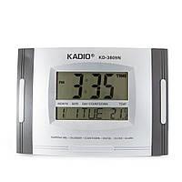 🔝 Цифровые часы Kadio (KD-3809N), Серые, настольные часы электронные, часы будильник | 🎁%🚚