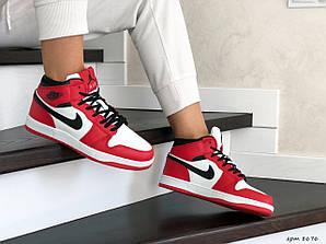 Кеды женские прошитые найк аир Джордан  красные с белым (реплика) Nike Air Jordan 1 Retro Red
