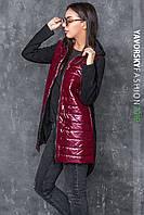 Куртка  из бордовой плащевки лаке размер 42 - 48