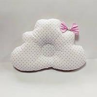 Ортопедическая подушка для младенца masterwork cloud 25*36 см. белая в горошек с бантом