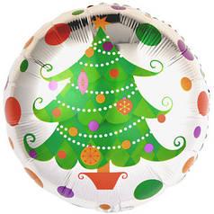 """Фол шар 18"""" Круг Новый год Елка разноцветные круги Серебро (Китай)"""