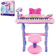 Детское пианино-синтезатор 37 клавиш с микрофоном 6613 на ножках, стульчик, микрофон, два динамика от батареек
