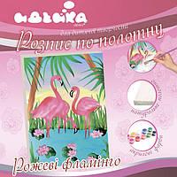 Роспись по полотну 7125 Розовый фламинго 25*35см