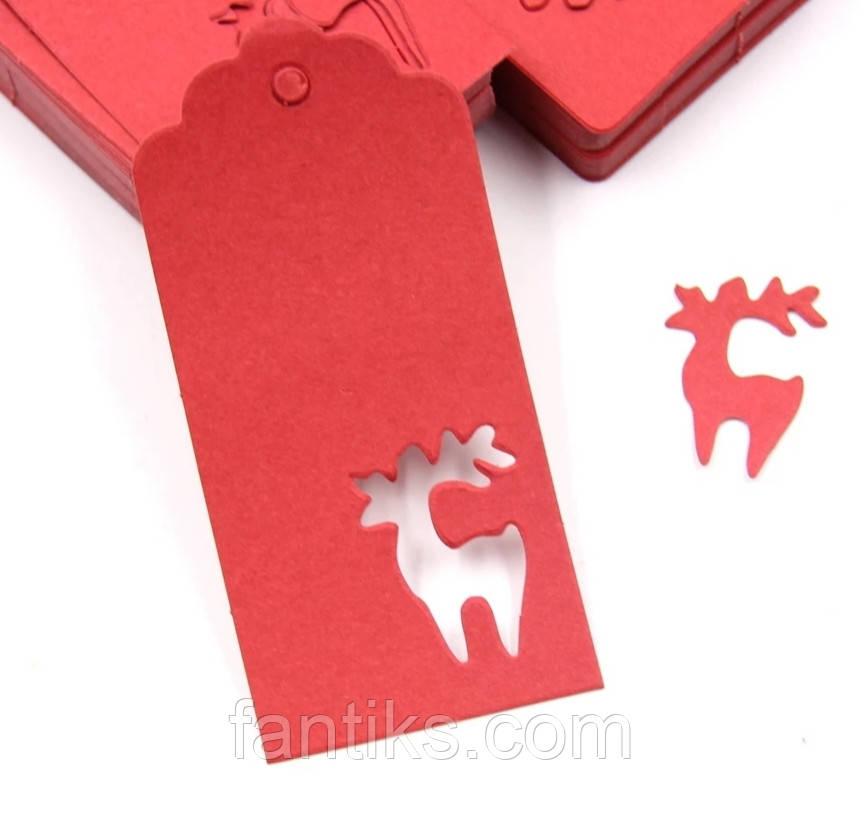 """Набор красных бирочек """"Рождественский олень"""" для украшения подарков - 10 шт"""