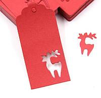 """Набор красных бирочек """"Рождественский олень"""" для украшения подарков - 10 шт, фото 1"""