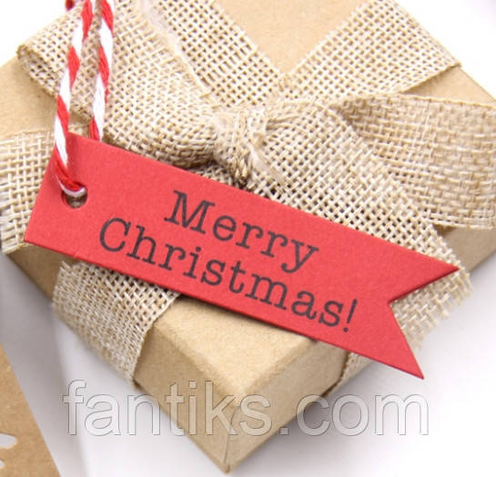"""Набір бирочек червоного кольору""""Merry Christmas"""" для прикраси подарунків - 10 шт"""