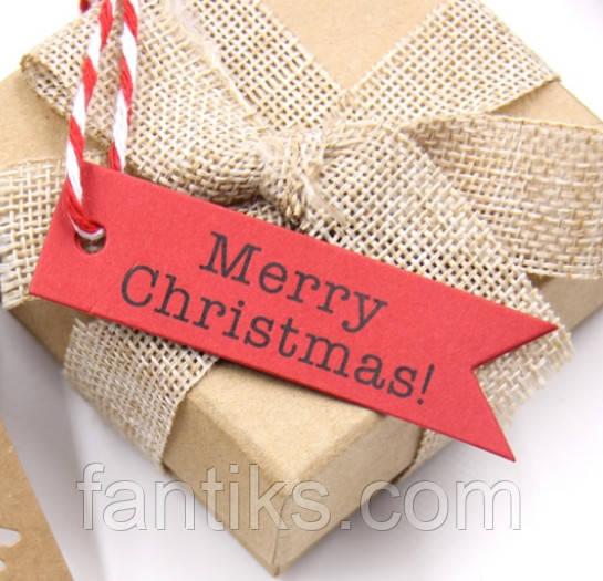 """Набор бирочек красного цвета""""Merry Christmas"""" для украшения подарков - 10 шт"""