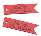 """Набір бирочек червоного кольору""""Merry Christmas"""" для прикраси подарунків - 10 шт, фото 2"""