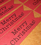 """Набір бирочек червоного кольору""""Merry Christmas"""" для прикраси подарунків - 10 шт, фото 3"""