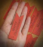 """Набір бирочек червоного кольору""""Merry Christmas"""" для прикраси подарунків - 10 шт, фото 6"""