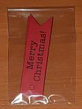 """Набір бирочек червоного кольору""""Merry Christmas"""" для прикраси подарунків - 10 шт, фото 7"""