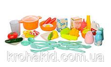 Велика дитяча ігрова кухня 889-59-60 на 40 предметів, З КРАНА ТЕЧЕ ВОДА, ЗВУК, СВІТЛО (82х41х39 див.), фото 2