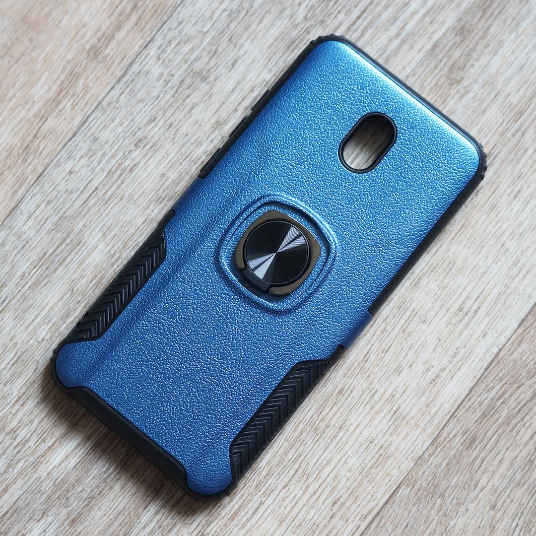 Противоударный чехол с кольцом держателем для Xiaomi Redmi 8A (синий)