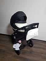 Детская коляска 2-в-1 Lumi (Люми эко-кожа) на пластиковой корзине черно - белая