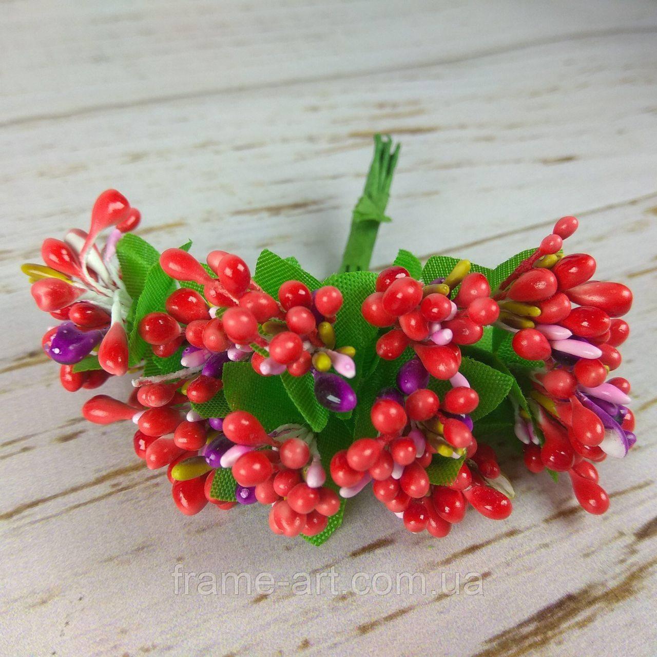 Добавка Тычинка трехцветная 11см 7 красно-сиренево-розовые  570335