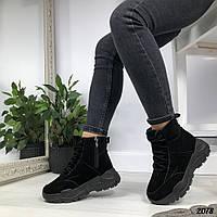 Зимние черные ботинки замша, фото 1