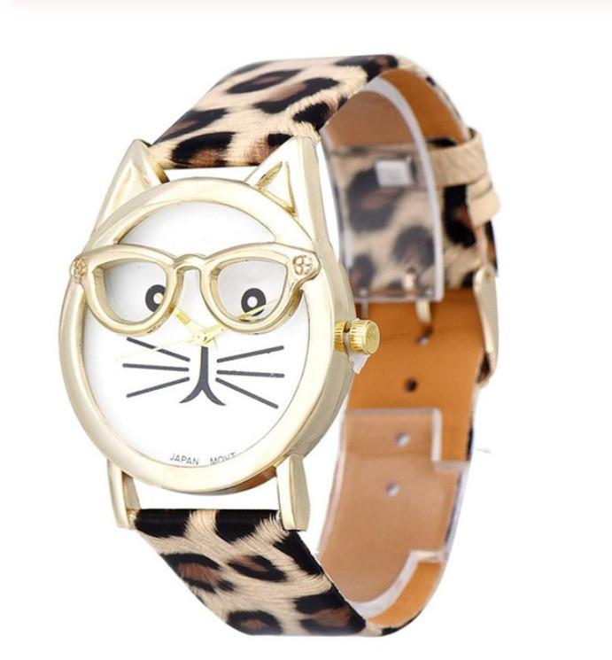 Часы Кот в очках/ кварцевые/ цвет ремешка леопард
