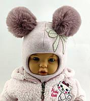 Оптом шапка шлем детская с 44 по 48 размер шапки ангора  на синтепоне головные детские опт, фото 1