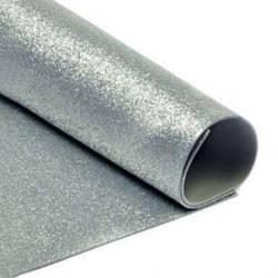 Фоамиран с глиттерм 20 х 30 см 2 мм 1 шт Серебро (7949/1)