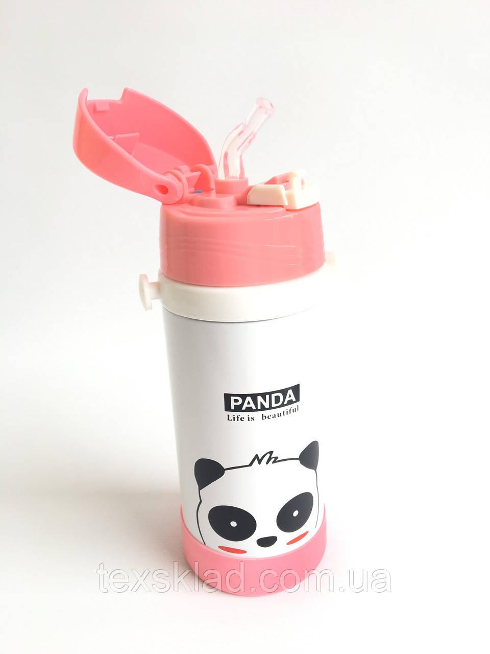 Детский термос с трубочкой - Панда (0,25 литра/стальной)