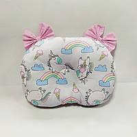 Ортопедическая подушка для младенца masterwork bows холофайбер 27*38 см. светло-серый с розовым