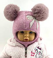 Оптом шапка шлем детская с 48 по 54 размер шапки ангора  на синтепоне головные детские опт, фото 1