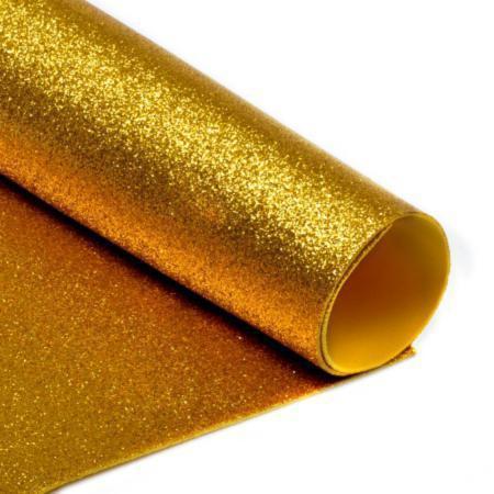 Фоамиран с глиттером А4  20 x 30 см 2 мм 1 уп. 10 ШТ. Золотой (7951)