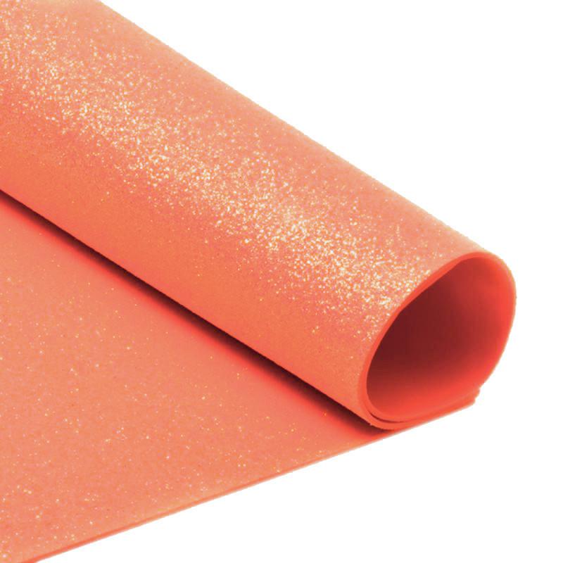 Фоамирна с глиттером А4  20 x 30 см 2 мм 1шт Оранжевый (7940/1)