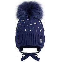 Вязаная шапочка с помпоном синяя