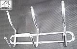 Вішалка настінна металева на 3 гачка, фото 3