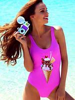 Слитный женский купальник мороженое Family Look С-070
