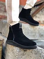 ХИТ!!! Зимние сапоги мужские замшевые на меху, ботинки, уги, чёрные, зимняя обувь 2020