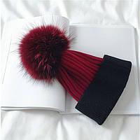 Зимняя шапка  бордовый