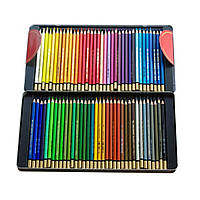 Подарочный набор цветных акварельных карандашей 72 шт. KIN в металлической коробке 372707 Mondeluz
