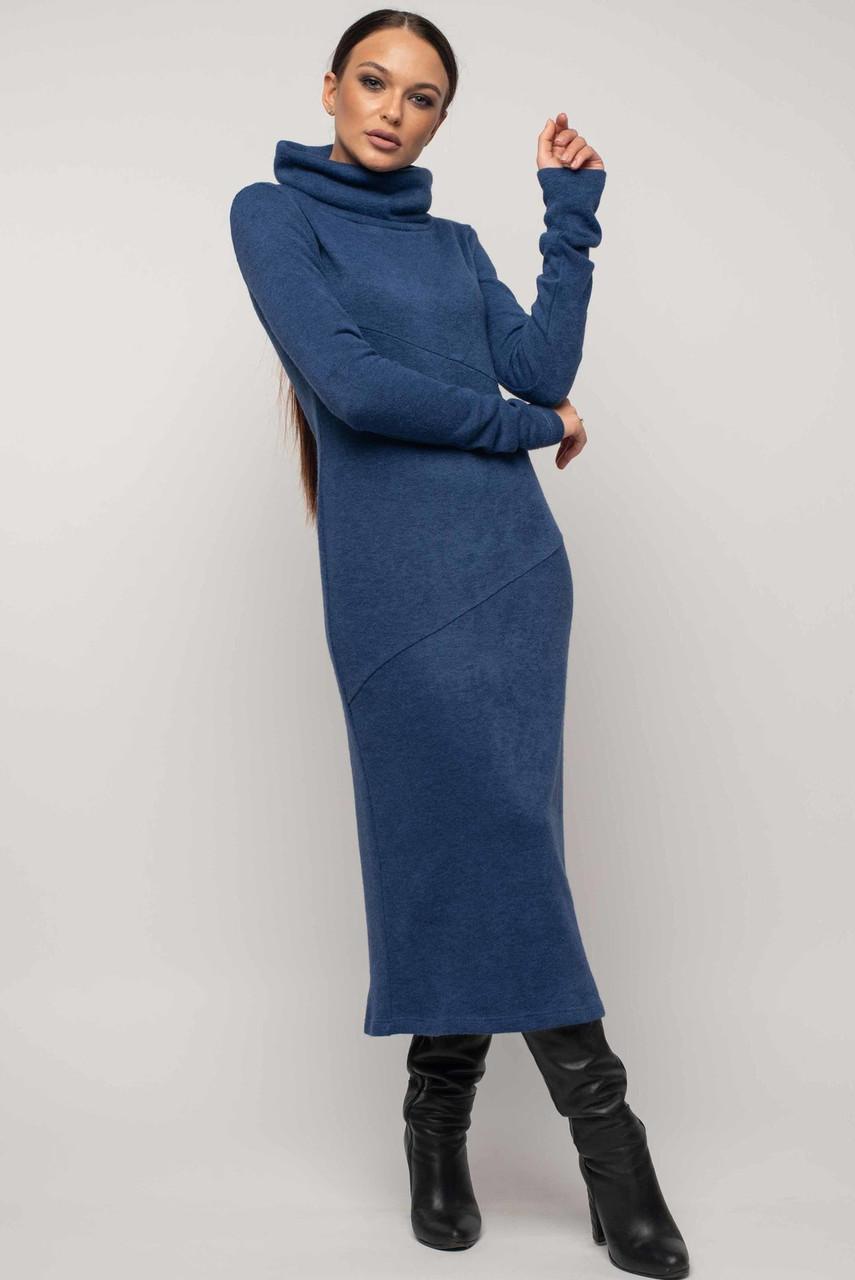 Теплое облегающее платье с 42 по 52 размер