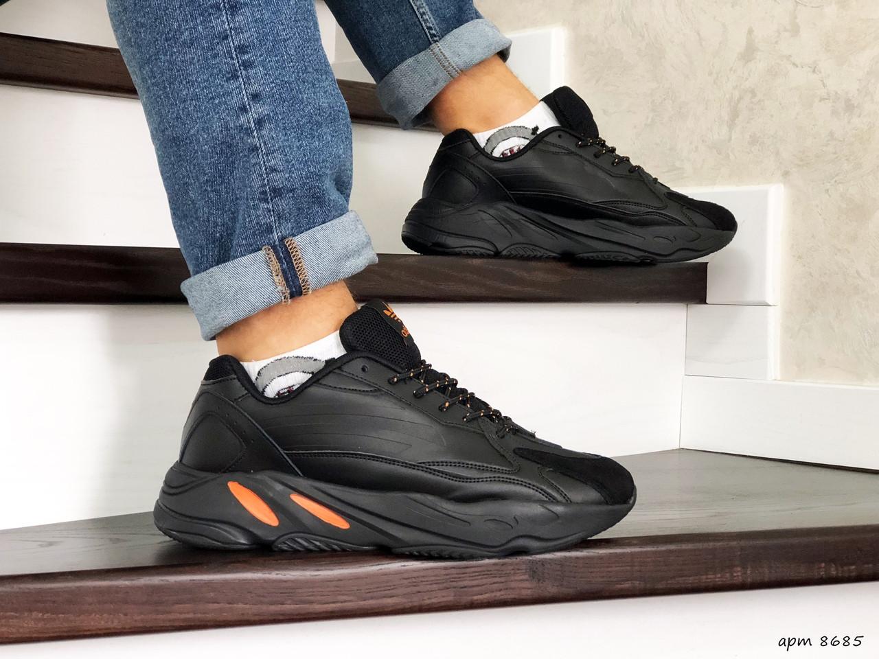 Чоловічі кросівки Adidas Yeezy Boost 700 (чорно-помаранчеві)